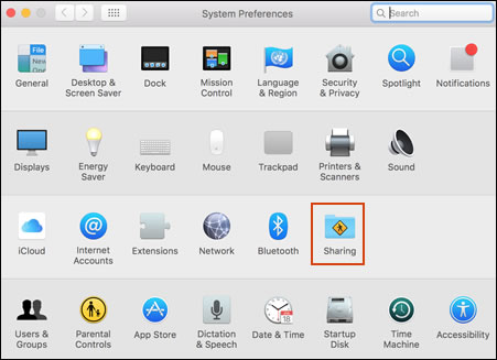 Clicking Sharing in the System Preferences window