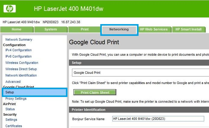 HP LaserJet, HP PageWide Enterprise - Setup Google Cloud Print | HP
