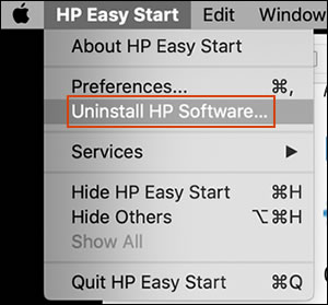 Clicking Uninstall HP Software