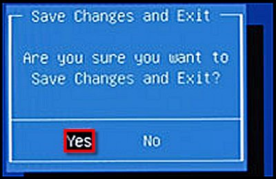 Save Changes and Exit confirmation.