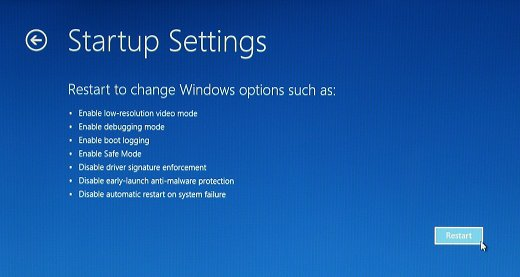 Startup Settings screen with Restart selected