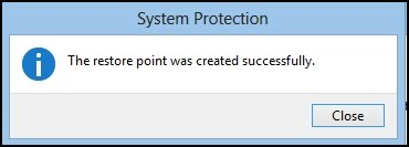 The success message on the System Protection window