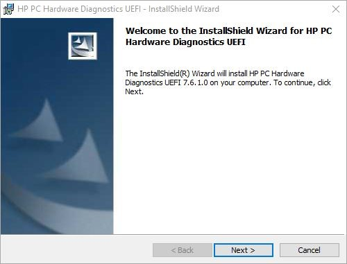 HP PC Hardware Diagnostics UEFI wizard