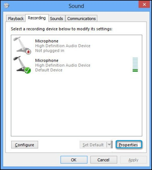 Recording tab in the Sound window