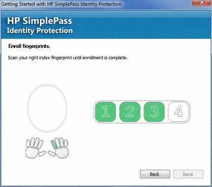 Image of enroll fingerprints window