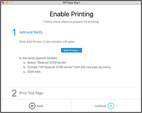 The Enable Printing screen