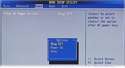 Image of the BIOS After AC Power Failure feature options in American Megatrends.