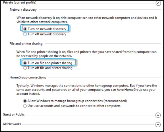Advanced sharing settings window