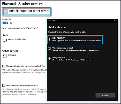 Selecting Add Bluetooth or other device and selecting Bluetooth