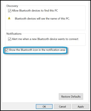Bluetooth Settings window with the Show the Bluetooth icon in the notification area selection