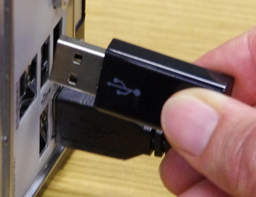 Plugging in dongle