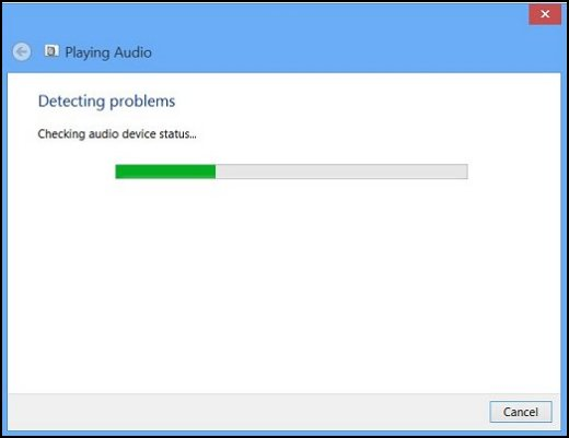 The troubleshooter detecting audio problems