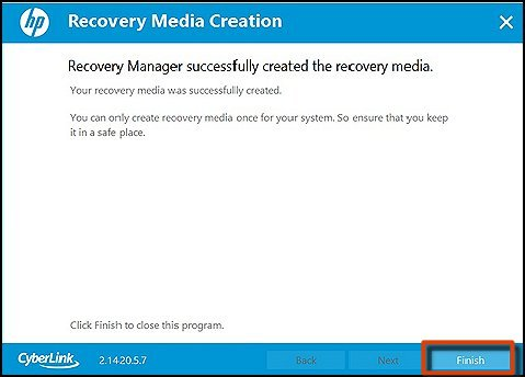 Recovery Media Creations screen with Finish selected