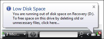 Low Disk Space message