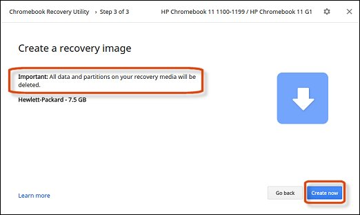 Create recovery image in Chromebook Recovery Utility