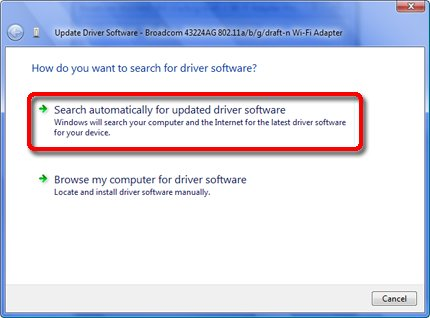 Update driver window with Search automatically selected