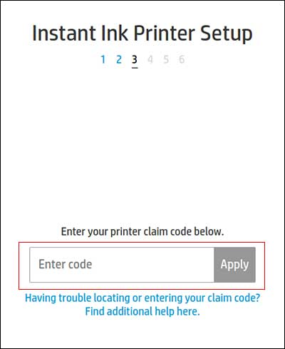 Typing the printer claim code