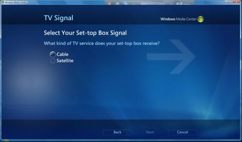 screen shot showing Set-top box signal choices