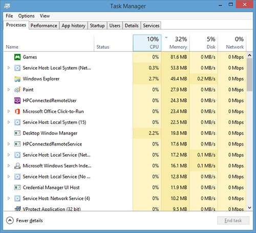 Task Manager Processes tab