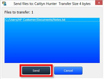 Image of a file transfer window with Send selected