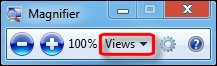 Magnifier toolbar with Views down-arrow selected