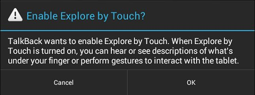 Enable Explore by Touch?