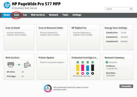 HP PageWide 377, 477, 577 - Configure and use the Scan to