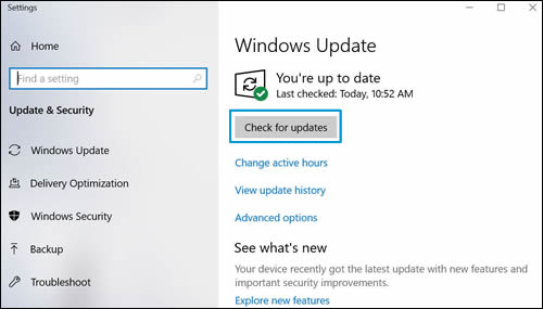 Checking for updates (Windows 10)