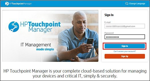 Logging onto HP Touchpoint Manager
