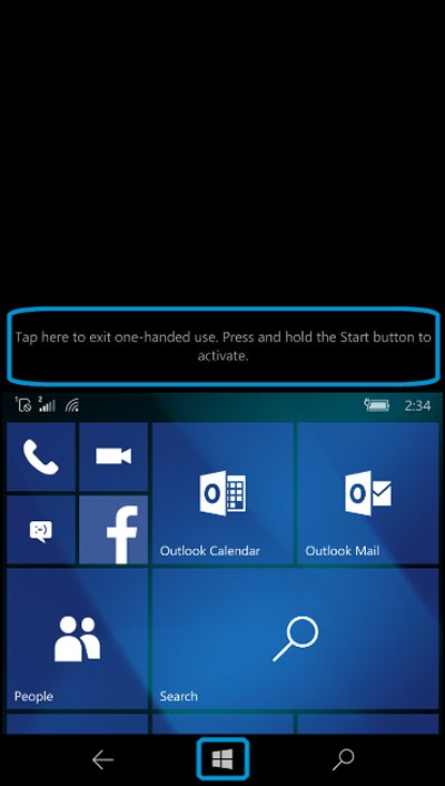 Start screen with Start button and area to exit one-handed use highlighted