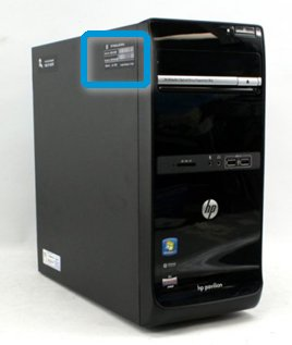 Product information label on the side of an HP desktop computer
