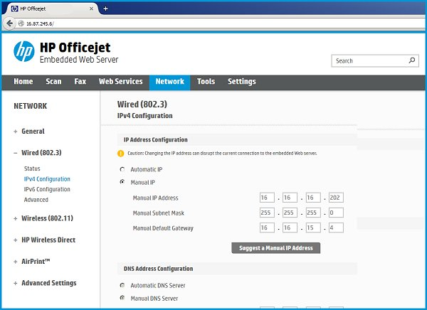Embedded Web Server on Network page with Manual IP selected