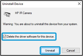 Selecting Delete the driver software for this device and clicking Uninstall