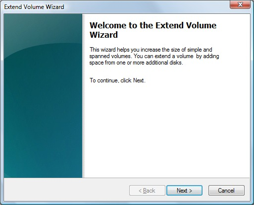 Image of the Extend Volume Wizard