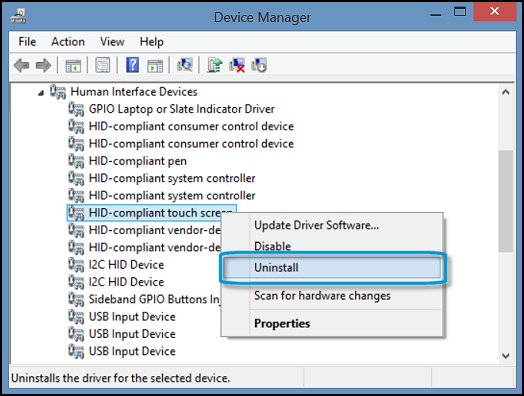 Uninstall HID-compliant touch screen in Device Manager