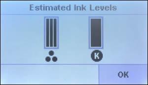 Imagen: Ejemplo de los niveles de tinta estimados.