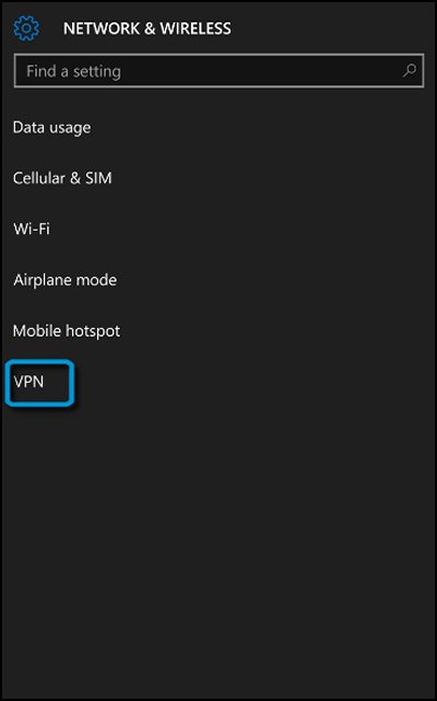 Network & Wireless screen with VPN highlighted