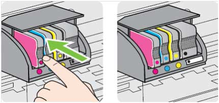 Image: Insert the cartridge into its color-coded slot.