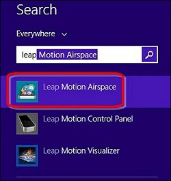 Leap Motion Airspace en la pantalla de búsqueda de Windows 8
