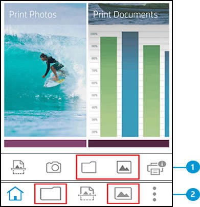 The home screen showing Print Documents and  Print Photos tiles, and the document and photo icons highlighted for Android and Apple iOS devices