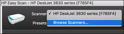 Clicking Browse Scanners to find  a printer