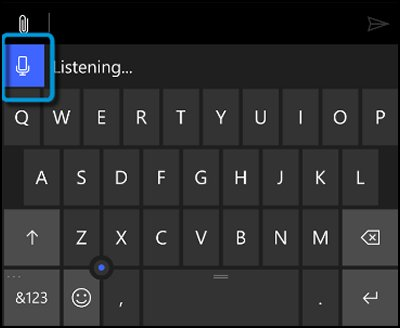 Keyboard with microphone icon highlighted