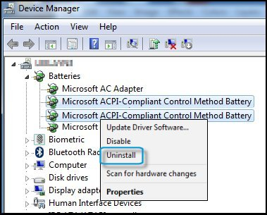 Device manager with ACPI options highlighted