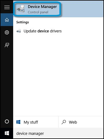 Device Manager search in Windows