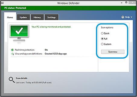 """Выбор опции """"Полная проверка"""" с последующим нажатием кнопки """"Проверить сейчас"""" в программе """"Защитник Windows"""""""
