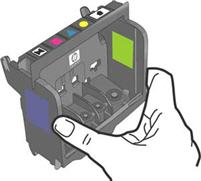 Illustration of holding the printhead upright.
