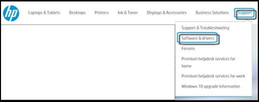 Sitio web de HP con las opciones Soporte y Software y controladores destacadas