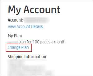 Clicking Change Plan