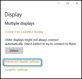 Opening the Display adapter properties