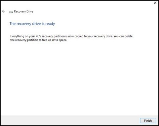 Recovery Drive window, showing The recovery drive is ready